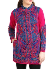 Pink And Blue Jacquard Coat - By