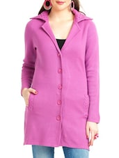 Solid Pink Collared Long Coat - By