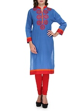 Blue Embroidered Cotton Kurta With Mandarin Collar - By