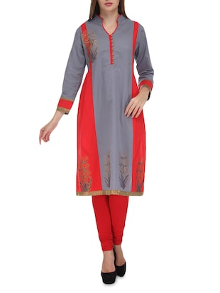 grey printed full sleeved cotton kurta