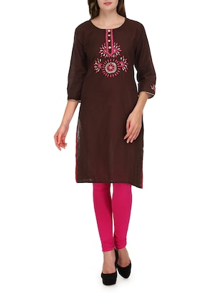 brown embroidered quarter sleeved cotton kurta
