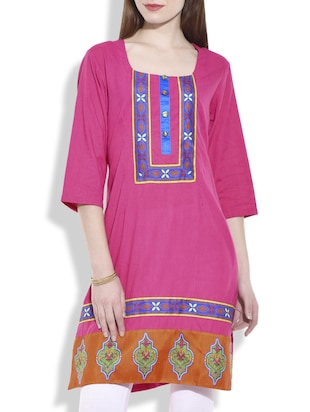 pink multi printed cotton kurta