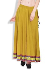Yellow Flared Maxi Skirt With Printed Hem - By