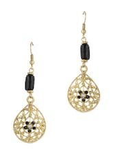 Stylish Gold Metal Earrings - Blueberry