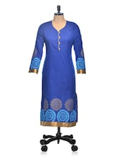 Blue Long Sleeved Printed Long Kurta - Tulsattva