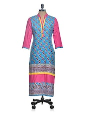 Printed Color Block Sleevless Long Kurta - Tulsattva