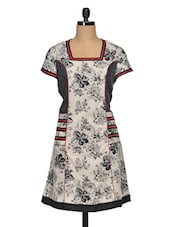 Floral Print Black And White Cotton Kurti - Paislei