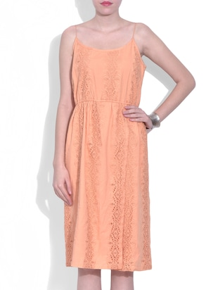 orange cutwork cotton dress