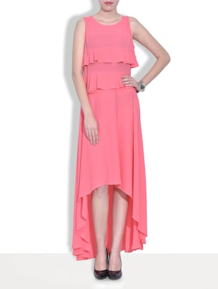 pink frilled poly crepe asymmetrical dress
