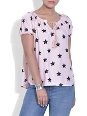 Baby Pink Star Printed Rayon Top - By