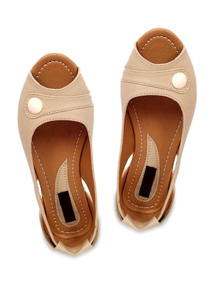 Beige  faux leather  sandals