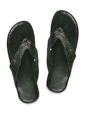 Solid Black Textured Faux Leather Slip Ons - By
