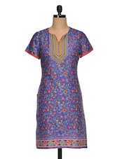 Embroidered Yoke Printed Short Sleeve Kurti - Paislei