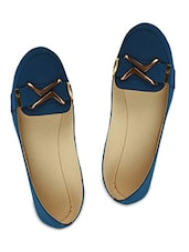 dark blue embellished faux leather loafers -  online shopping for loafers & mocassins