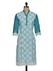 Lace Blue Cotton Kurti With Zari Work - Paislei