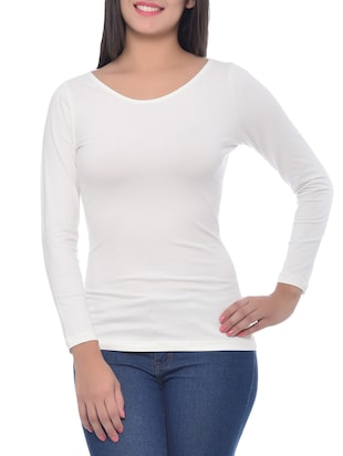 White Cotton Spandex  Boat Neck Top