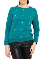 Teal Embellished Cotton Poly Fleece Sweatshirt - By