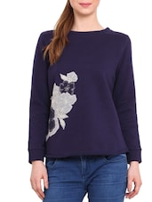 Navy Patch Worked Cotton Poly Fleece Sweatshirt - By