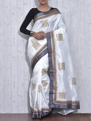 White and Gold Poly Dupion Silk Printed Sari