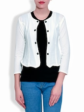 Cream Short Jacket With Black Cotton Tee - By