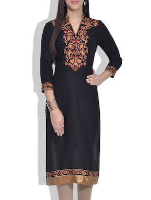 black embroidered rayon kurta
