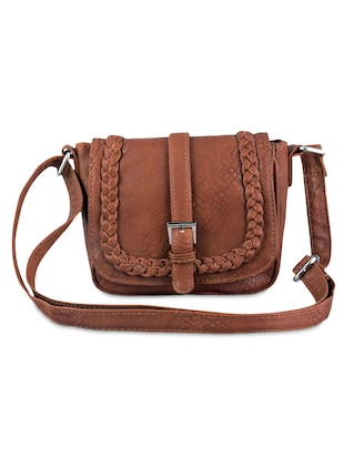 brown braided leatherette sling bag