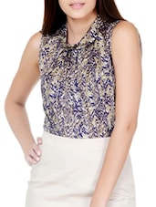 Purple Printed Gather Detail Top - Pera Doce