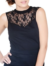 Chic Black Top With Sheer Yoke - Pera Doce