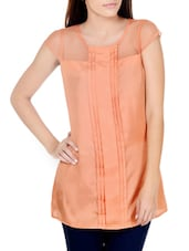 Chic Peach Top With Sheer Yoke - Pera Doce