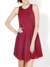 Maroon Fit-and-Flare Flirty Dress - Pera Doce