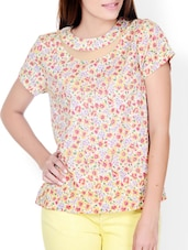 Multi Print Floral Top With Sheer Detail - Pera Doce