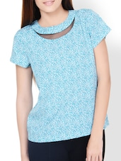 Multi Print Top With Sheer Detail - Pera Doce