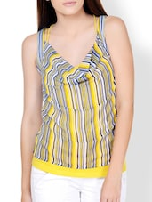 Striped Yellow Cowl Detail Top - Pera Doce