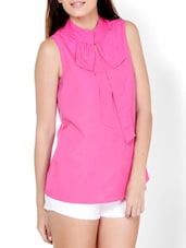 Hot Pink Closed Neck Top - Pera Doce