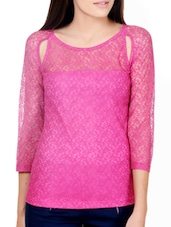 Hot Pink Top With Sheer Yoke And Sleeves - Pera Doce
