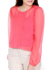 Front Pleated Sheer Coral Top - Pera Doce
