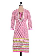 Pink And White Printed Quarter Sleeved Cotton Kurti - By