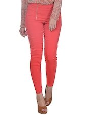 Red Slim-Fit Trousers With Dual Zipper Detail - Pera Doce