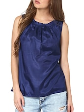 Navy Blue Pleated Neckline Top - Pera Doce