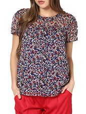 Multi Print Pleats With Gather Top - Pera Doce