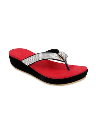 Red Faux Leather Embellished toe separator Wedges