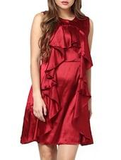 Maroon Elaborate Ruffle Dress - Pera Doce