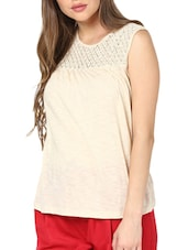 Chic Beige Lace Yoke Top - Pera Doce