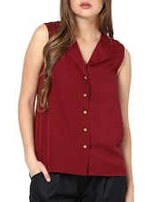 Chic Maroon Shirt With Gold Buttons - Pera Doce