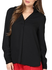 Chic Black Blouse With Lace Collar - Pera Doce