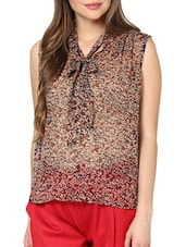 Sheer Printed Bow Tie Up Top - Pera Doce