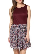 Maroon Scoop Neck Dress With Printed Skirt - Pera Doce