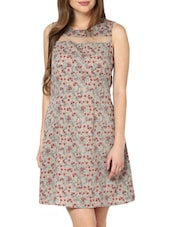 Floral Print Fit-and-Flare Dress With Sheer Detail - Pera Doce