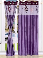 Floral Printed Mauve Long Door Curtain - Eyda