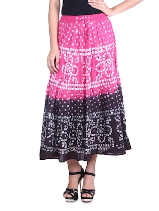 pink n black sequined tie n dye cotton skirt
